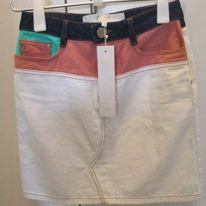 Maje Short Multicolored Denim Skirt
